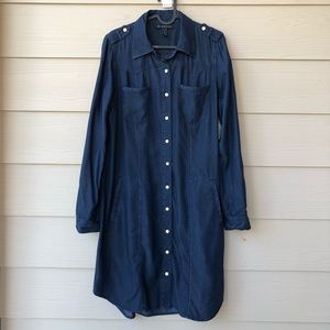 I.N.C Long Sleeve Button Down Chambray Shirt Dress